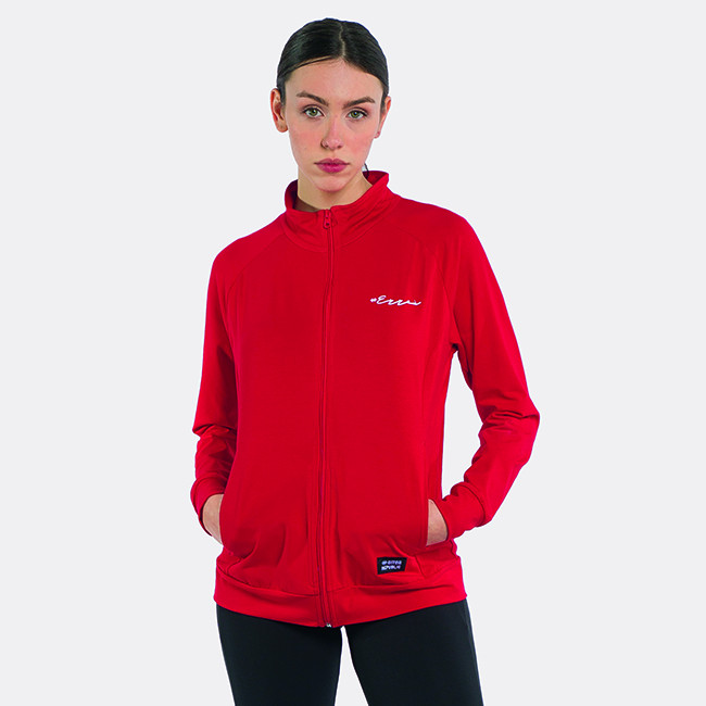 FELPA ESSENTIAL SS21 WOMAN CALLIGRAFIC FULL ZIP  AD ROSSO-3 - REPUBLIC